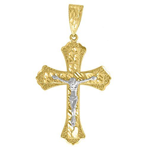 - Jewels By Lux 10k Gold Yellow and White Two tone Diamond-cut Nugget Mens Cross Crucifix (Ht:58mm x W:32mm) Religious Charm Pendant