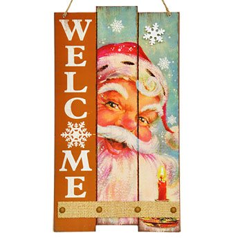 Holiday Santa Rustic Welcome Sign Decoration with Glitter (Wood Look Santa)