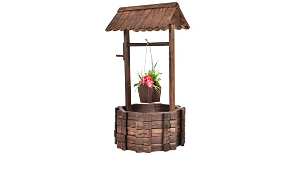 eminetshop al aire libre de madera Wishing Well cubo flores ...
