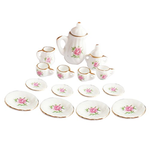 MagiDeal 1/12th Dining Ware China Ceramic Tea Set Dolls House Miniatures Pink Rose