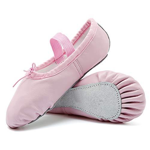 CIOR Girls Leather Ballet Slipper/Ballet Shoes/Yoga Dance Shoe(Toddler/Little/Big Kid/Women),DNDTWXYP,Pink,40