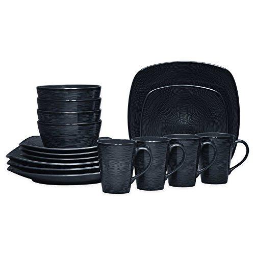 Noritake Black on Black Swirl Square 16-Piece Porcelain Dinnerware Set