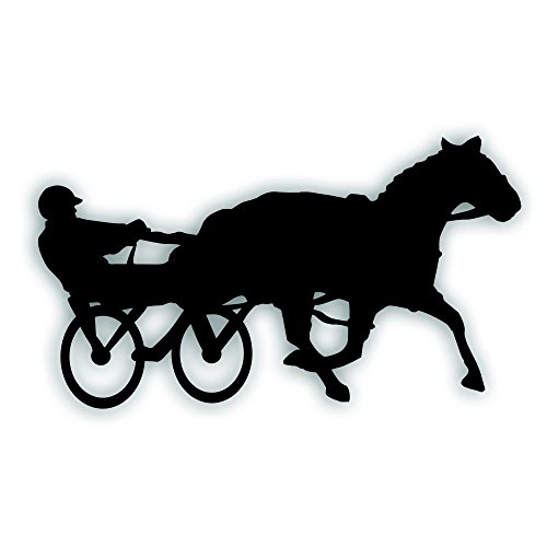 Solar Graphics USA Sulky Horse Racing Decal - for Equestrian Tack Box, Windshield, Truck Or Trailer Bumper Sticker - 6 x 11 1/2 Inch in Black -  HE044B