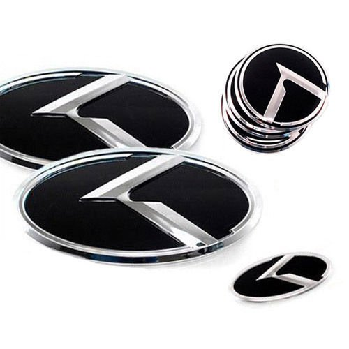 ZEO Front Hood Grill + Rear Trunk Steering Wheel Center Hub Cap K Logo Emblem 7-pc Set For 2013 2014 Kia New Sorento by Kia