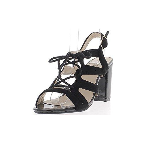 Sandales noires vernies et daim à talons épais de 9cm avec lacet