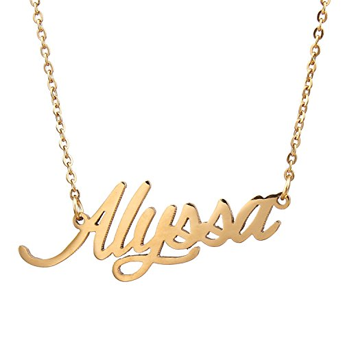 Pendant Name Gold (AOLO Gold Plated Girls Name Necklace, Alyssa)
