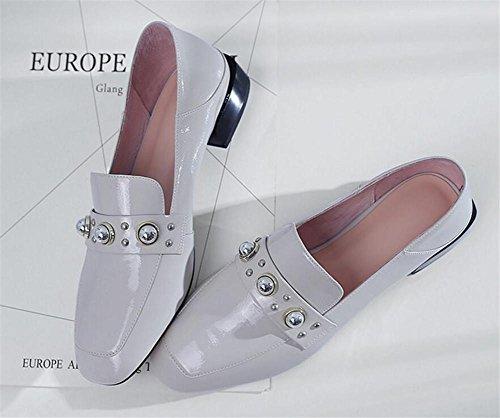Mocasines mujer Zapatos Charol cerrados Tacones white 35 a Tamaño planos negro de Blanco 41 UXrxqwCr