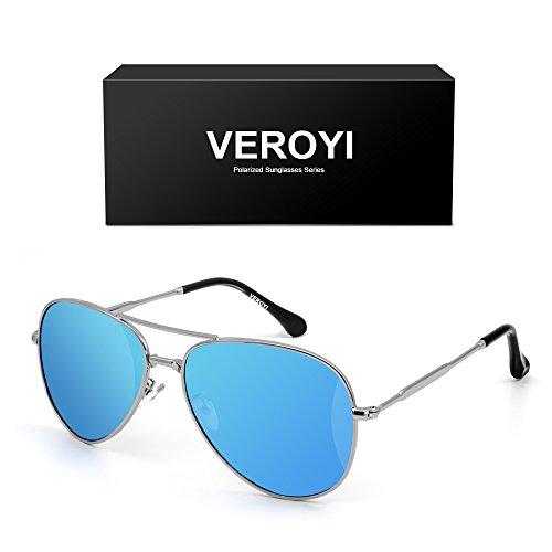 Frame Blue Ice Lens - Veroyi 9110-C3 Aviator Sunglasses PC Polarized Lens Pilot Eyewear for Men Women, Metal Plating Frame and Temple. (Metal Frame: Gold; Lens: Ice Blue)