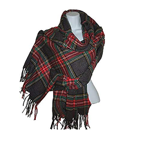 100% Cashmere Blanket Scarf, Charcoal Plaid