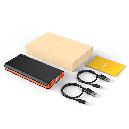 swift and economical EasyAcc Monster 26000mAh power Bank 4A feedback 48A production External Battery Charger lightweight Charger for Android smartphone Samsung HTC Tablets Black and Orange Camera