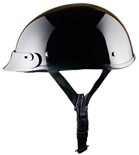Bikerhelmets.com - World's Smallest Motorcycle Helmet - DOT Approved Ultra Low Profile Beanie - Gloss Black With Peak - (Approved Gloss Black Motorcycle Helmet)