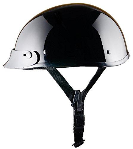 Bikerhelmets.com - World's SmallestMotorcycle Helmet -DOT ApprovedUltra Low Profile Beanie - Gloss Black With Peak - (Approved Gloss Black Motorcycle Helmet)