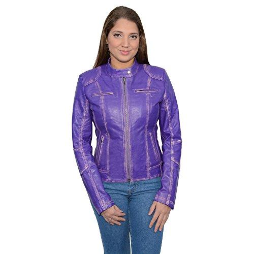 Womens Purple Leather Jacket - 5