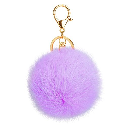 AStorePlus Gold Plated KeyChain Car Bag Pom Pom Key Chain Ring Fur Ball Pendant Charm Gift - Lavender]()