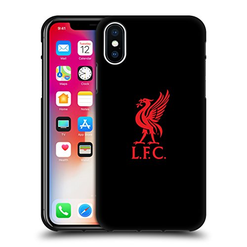 (Official Liverpool Football Club Red Logo On Black Liver Bird Black Soft Gel Case for iPhone X/iPhone Xs)