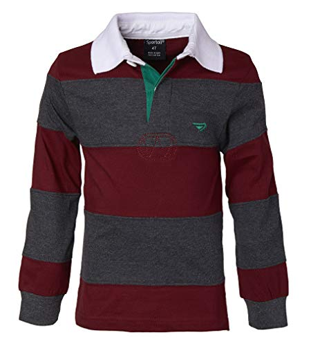 Sportoli Big Boys 100% Cotton Wide Striped Long Sleeve Polo Rugby Shirt - Burgundy/Charcoal (Size 12)