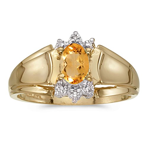 - 0.31 Carat (ctw) 14k Yellow Gold Oval Yellow Citrine and Diamond Accent Anniversary Fashion Ring (6 x 4 MM) - Size 9.5