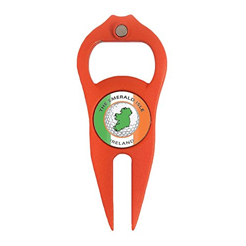 Hat Trick Openers 6-in-1 Golf Divot Tool with Ireland Logo, Orange by Hat Trick Openers