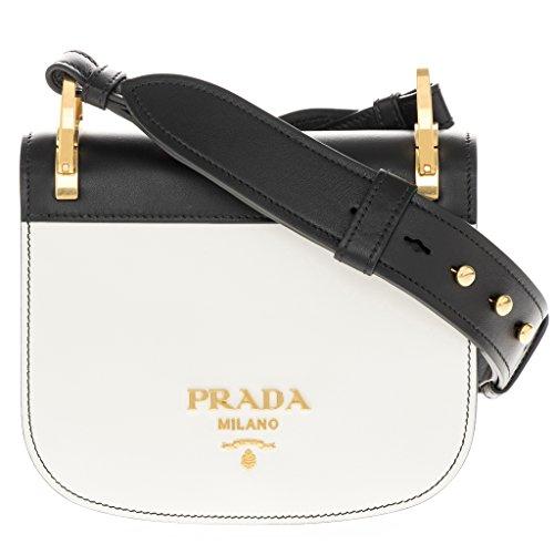 Prada Women's 'Pionnière' Bi-Color Embellished Metal Stud Strap Bag White Black