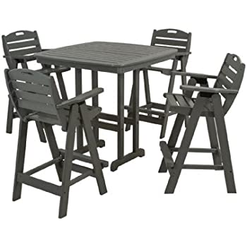 POLYWOOD PWS144 1 GY Nautical 5 Piece Bar Set With Table And Chair