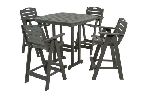 POLYWOOD PWS144-1-GY Nautical 5-Piece Bar Set with Table and Chair, Slate Grey For Sale