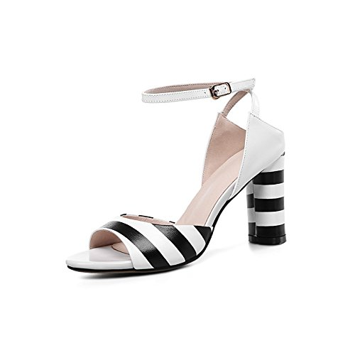 a le trentotto cuoio testa vero sandali borse vuote 36 white i NHGY rotonda spessa fibbie sandali tacco righe q8PUAn4