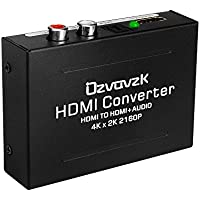 HDMI Audio Extractor Converter,Ozvavzk 4K HDMI to HDMI + SPDIF(Optical/Toslink) + RCA(L/R) Stereo Analog Outputs Video Audio Converter for Ruku,Chromecast, Blu-ray Player,Cable Box,Fire TV,Apple TV,et
