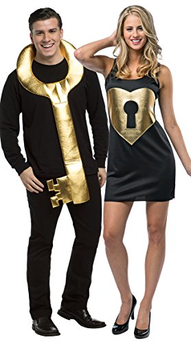Dumb And Dumber Halloween Costumes Female (Rasta Imposta Key To My Heart Lock and Key, Black/Gold, One)