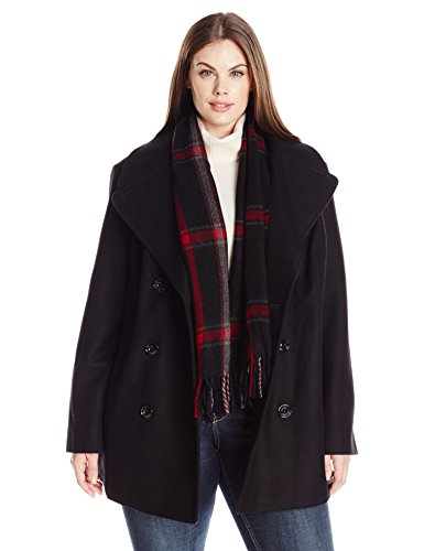 London Fog Women's Plus-Size Double Breasted Peacoat with Scarf, Black, 3X - London Coat Fog Womens