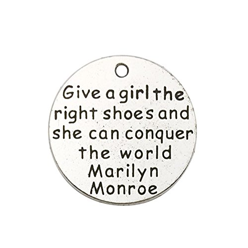 30pcs Antique Silver Round give a Girl The Right Shoes Inspiration Words Charms Craft Supplies Tag Charms Pendants for Crafting, Jewelry Findings Making Accessory for DIY Necklace Bracelet Earrings -