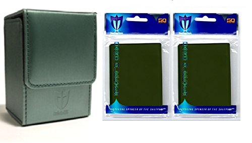 Combo- Emerald Green Deluxe Leatherette Deck Case Plus 2 50ct Pks (100) Gloss Sleeves for Collectable Gaming Cards Like Magic The Gathering MTG, Force of Will , & More. Magnetic Closure Box.