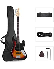 GLARRY 4 String GJazz Electric Bass Guitar Full Size Right Handed with Guitar Bag, Amp Cord and Beginner Kits