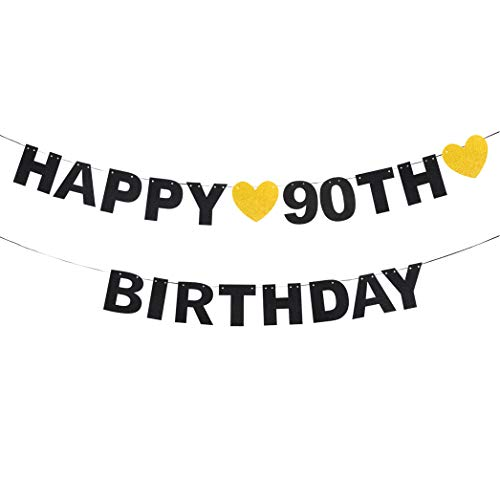 waway Happy 90th Birthday Black Glitter Paper Letter Banner Pennant Sweet Gold Glitter Heart Cheers to Ninety Years Old Bday Fabulous Anniversary Party Event Funny Hanging Ornament Decoration -