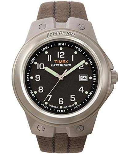 (Timex Men's T49631 Expedition Metal Tech Brown Leather Strap Watch)