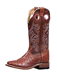 Boulet Western Boots Womens Exotics Ostrich Square Ranch Hand Tan 5510