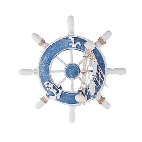 MagiDeal Nautical Wooden Steering Wheel