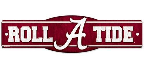 Tide Sign Crimson Alabama - Alabama Crimson Tide Official NCAA 4 inch x 17 inch Plastic Street Sign by Wincraft Model: 89334010