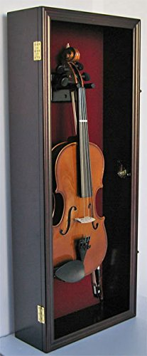 Fiddle, Violin Display Case Shadow Box with Hanger, with Lock (Mahogany Finish) by DisplayGifts