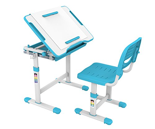 ProHT Height Adjustable Children Desk & Chair Sets (05494A) Kids Interactive Work Station w/ Drawer Storage, Tilting Desktop &Paper Roll Holder, Ergonomic Design for Kids, Boys &Girls-Blue by ProHT