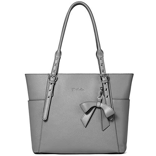 BOSTANTEN Women Leather Handbag Designer Tote Shoulder Work Purses Grey