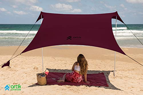 Pop Up Beach Tent Sun Shade for Camping Trips, Fishing, Backyard Fun or Picnics – Portable Canopy with Sandbag Anchors, Two Aluminum Poles & Carrying Bag - UPF50 UV Protection (Dragon Red, Large)