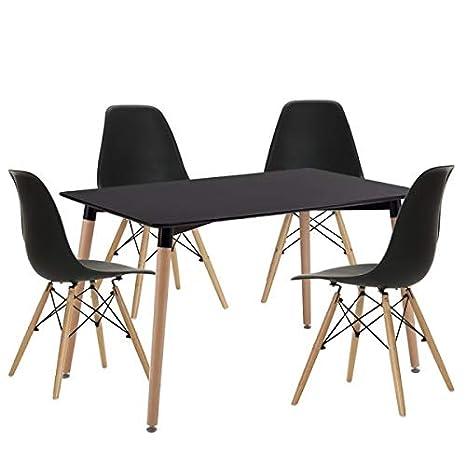 BUDMOSUR Mesa y 4 sillas réplica Eames +4 cómodos Cojines.TB-DT ...