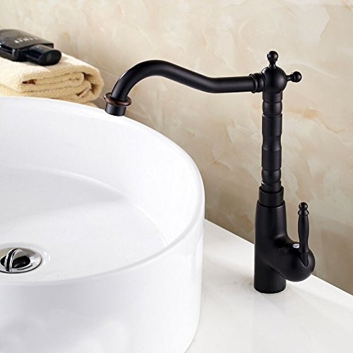 Hiendure® Classic Single Handle One Hole High Arc Bathroom Vessel Sink Faucet Kitchen Mixer Tap with Swivel Spout, Oil Rubbed Bronze ()