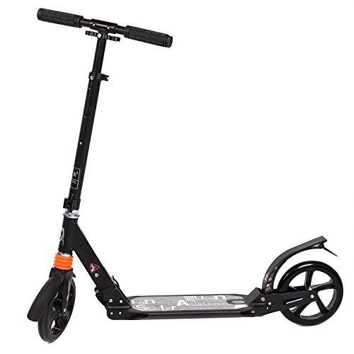Bulges Adult Teen Folding Kick Scooter Adjustable Height City Urban Push Scooter with 2 Big Wheels,Supports 220lbs Weight
