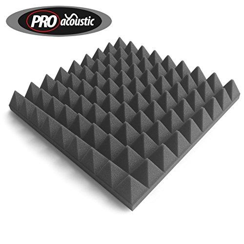 24x AFP305 Pro Acoustic Foam Pyramid Tiles, Studio Sound Treatment, 2.23m2 (24 ft2) per pack