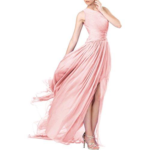Aiyana Damen äermellos Chiffon A-Linie Abendkleid Blau Ballkleider Langes Ausgebogt Rosa Rueckenfrei Kleid,Brautjungfernkleid 36 Lila