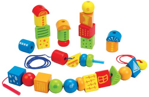 Hape String Along Shapes Wooden Block Toddler Lacing Toy ()