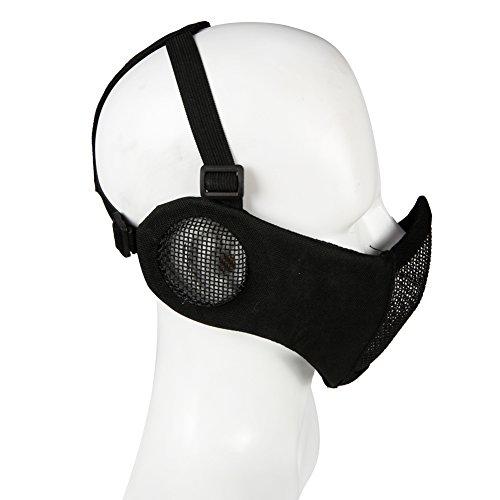 ATAIRSOFT Tactical Airsoft CS Demi-Masque de Protection en Nylon avec Masque Anti-Bruit 6