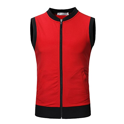 ANJUNIE Mens Slim Fit Crew Neck Sleeveless T-Shirt with Multicoloured Sports Fashionable Vest(Red,L) ()