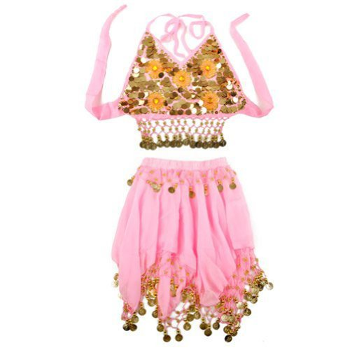 Belly Dancer Costumes Ideas (BellyLady Kid's Pink Belly Dance Halter Top & Skirt, Halloween Gift Idea)